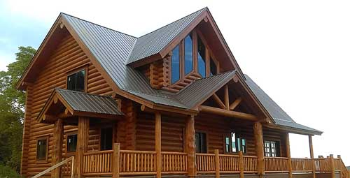 Custom log plan and build larger log home with exterior features