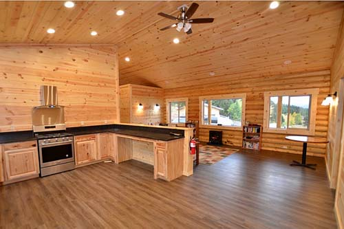 Eagle Ridge cabin interior with PPLP ceiling and 8inch logs montana