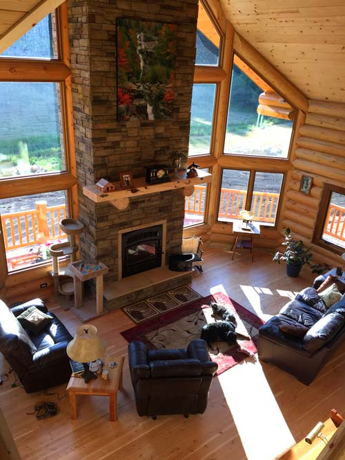 Inside a custom Log home from Lazarus Log Homes Lewistown montana