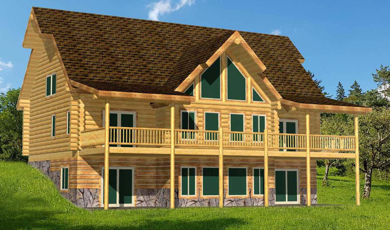 Lakeview on basement is a nice log home package background