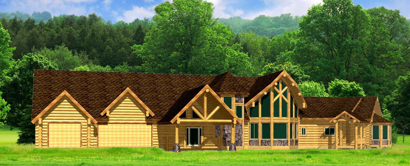 Large Lazarus Log Home package with 12 inch logs