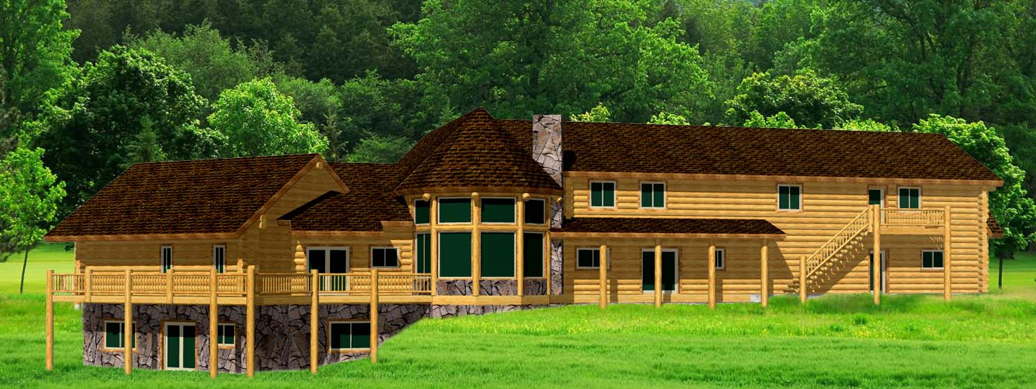 Large Lazarus log home kit with basement and sunroom