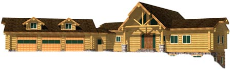 Majestic Mountain Ranch log home entry side