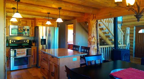 Pinnacle sundown kitchen log cabin smaller layout