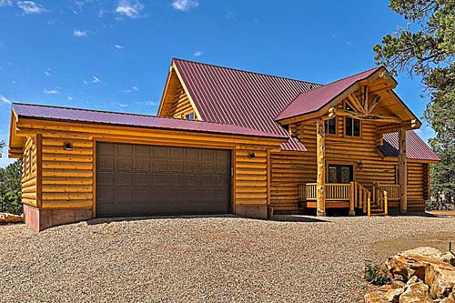 Ponderosa lodge log package grand entry with garage