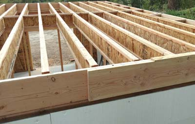 Rim building floor structure construction with ICF forms on log home