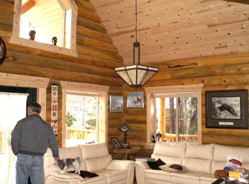 24x32 Elkhorn interior log cabin living room