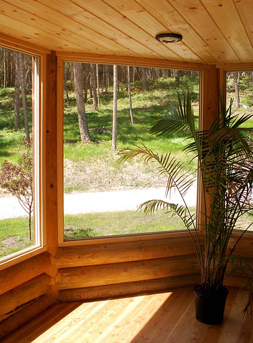 log home addition sunroom insulated whitefish log home design
