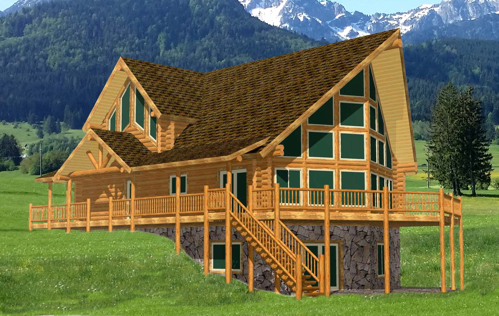 Yellowstone Chalet log cabin material package large home near grant tetons