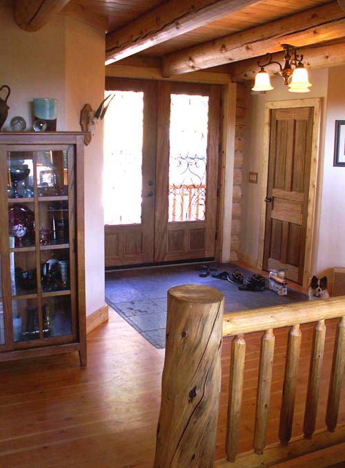 entry of lodge style log cabin from whitefish montana log home