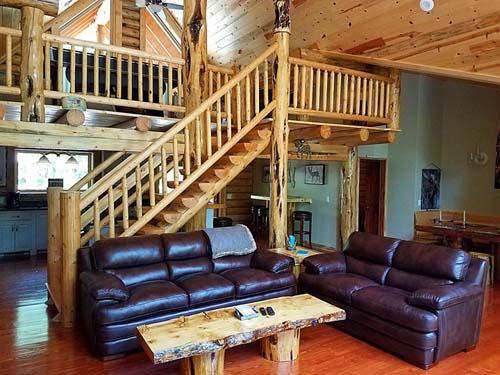highlander interior living Lazarus log homes