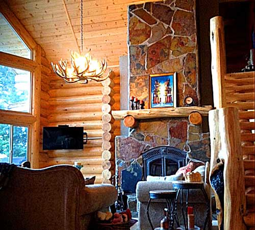 hybrid living room log design fireplace vrbo in canada