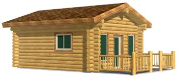 16x20 Camp Cabin log cabin design small but efficient