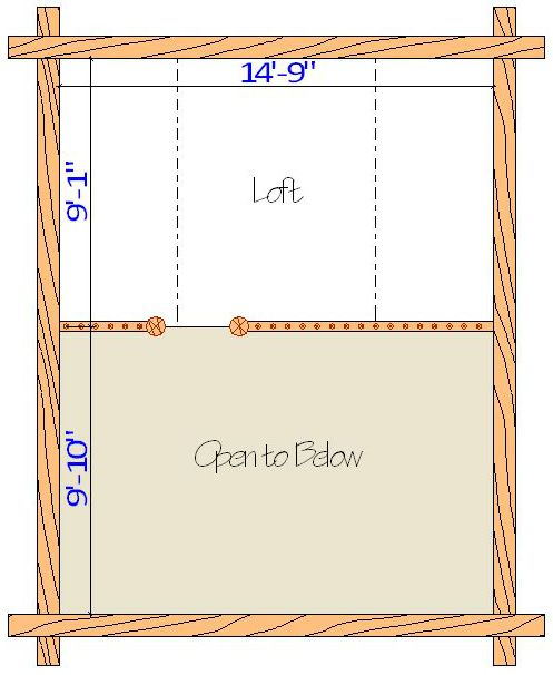 16x20 Camp Cabin Loft layout