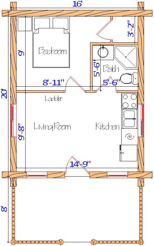 16x20 Camp Cabin Main (1) layout log design