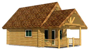 16x20 log cabin House 3D Front Montana