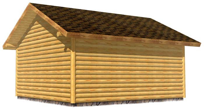 18x20 Garage 3D Rear log sided
