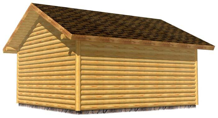 18x20 Garage 3D Rear log sided