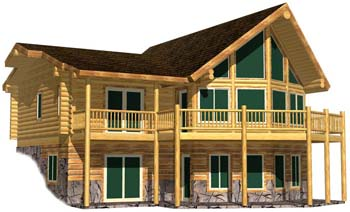 24x36 Tahoe 3D Front small log cabin nevada kit