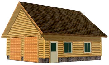 26x28 Garage 3D Front 350 attic trusses