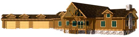 26x72 Highlander 3D Front View Montana based log home 450