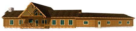 26x72 Highlander 3D Rear view Montana log home from Lazarus 450