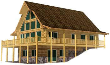 28x40 Alpine Valley full front glass full length side porch on basement