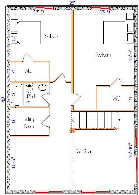 28x40 Alpine Valley Basement layout log cabin