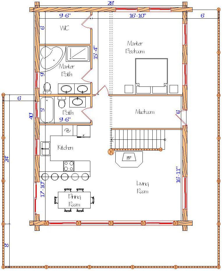 28x40 Alpine Valley Main floor layout efficient mid sized log cabin