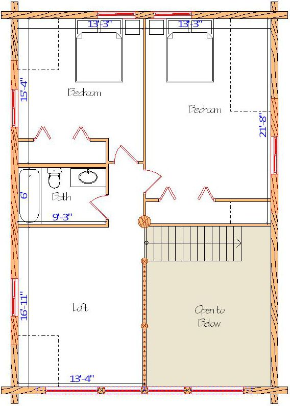 28x40 Cape Cod Loft plan with 2 bedrooms and bath 34 loft Kalispell Montana