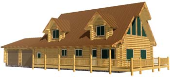 28x40 Cape Cod log home package Pennsylvania 350