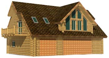 28x40 Carriage log house garage under ARIZONA 3D Front 350
