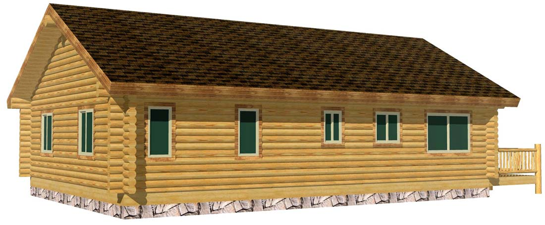 28x40 Eagle Creek 3D rear view log cabin