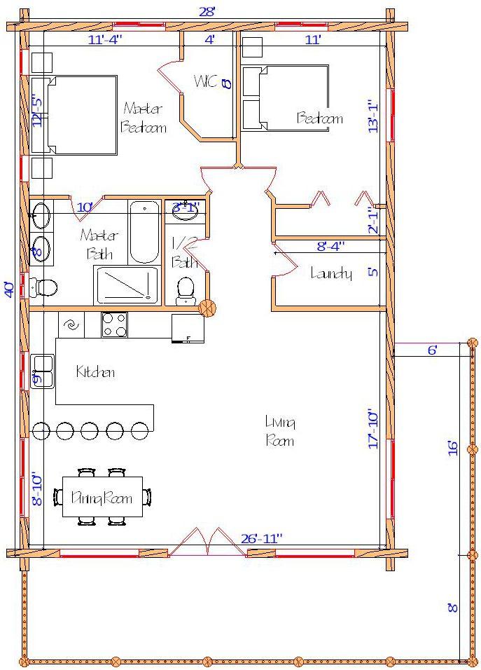 28x40 Eagle Creek Main log cabin plan