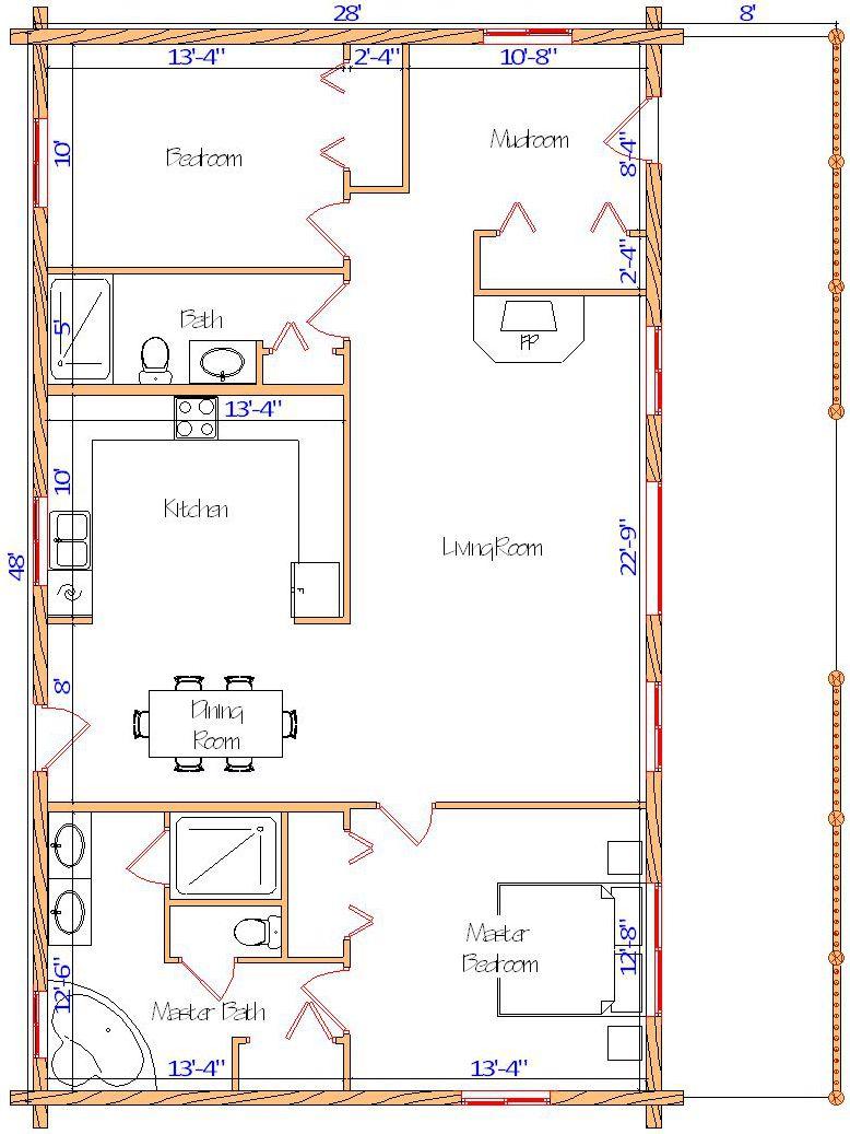 28x48 Eagle Ranch Main floor plan log cabin 2 bedroom