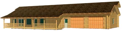 28x50 Eagle Ridge 3D wyoming log cabin 400