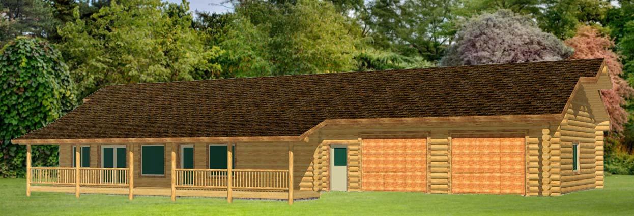28x50 Eagle Ridge Log Cabin design one floor with garage