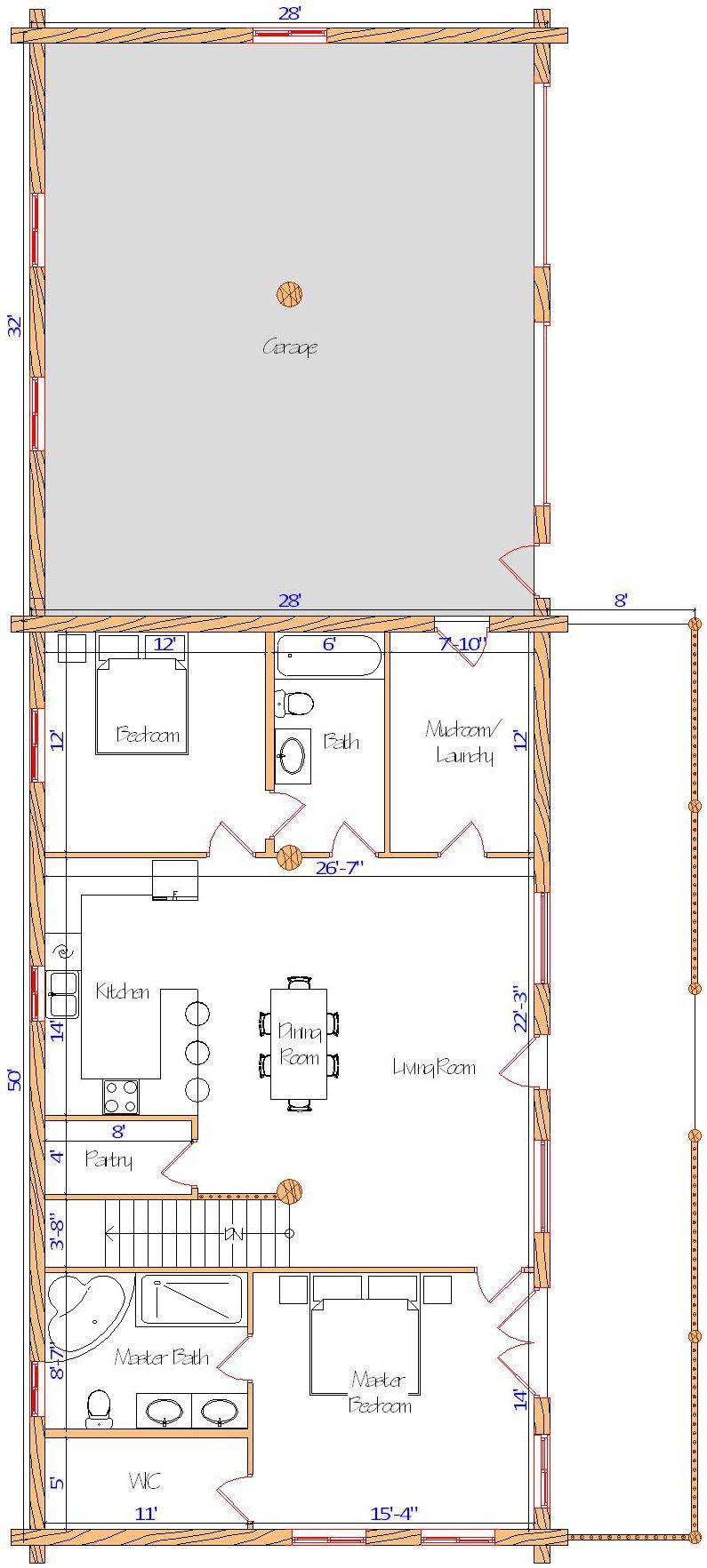 28x50 Eagle Ridge Main floor all one floor ranch log cabin
