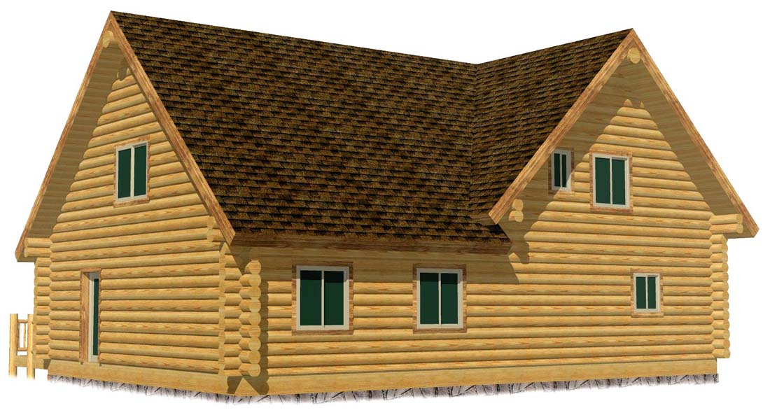 30x44 Lodge 3D Rear double gable end