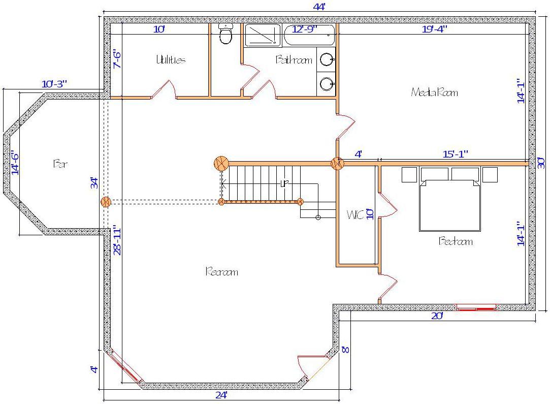 30x44 Lodge Basement in montana log home media room plan with bar