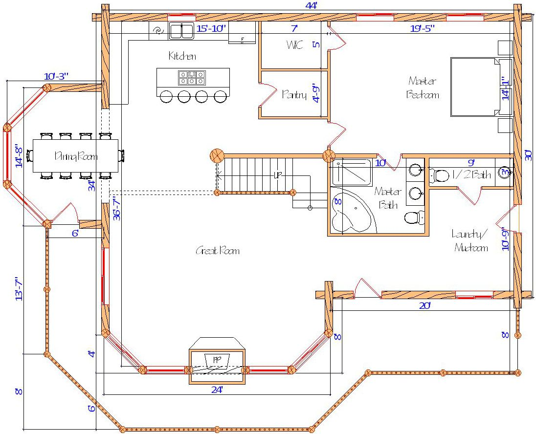 30x44 Lodge Main floor options laundry all one floor living with dining area