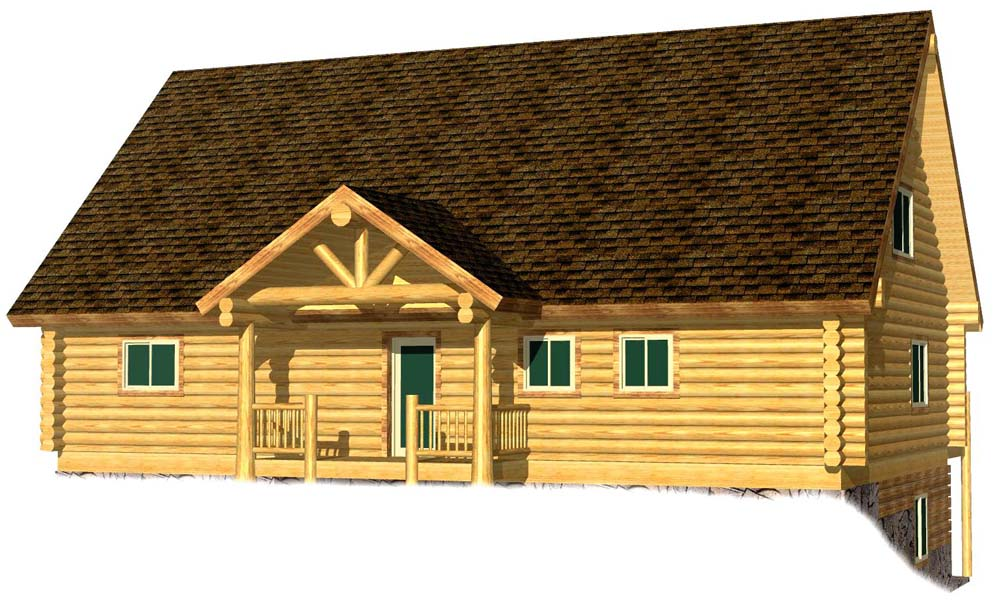 30x48 Ponderosa 3D Entry view bang for the buck log home
