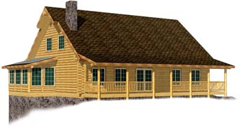 32x44 Cape Cod 3D view log cabin design 350