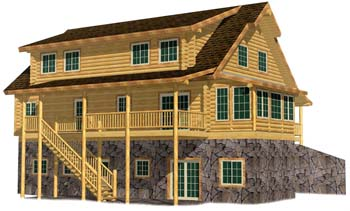 32x44 Cape Cod 3D Front Washington log home 350