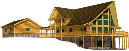 32x44 Yellowstone 3D Star valley wyoming ranch log home 450