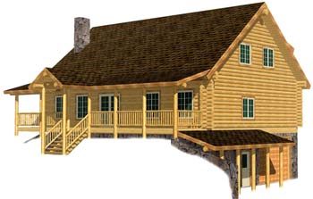 32x44 southern Cape Cod 3D Rear Washington log home 350
