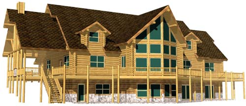 36x62 Columbia log cabin design ski resort West Virginia 3D 500