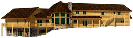 3D Ksanka lodge huge log home design Idaho 400