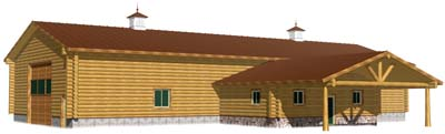 40x100 log shop and barn drive through living area large 400