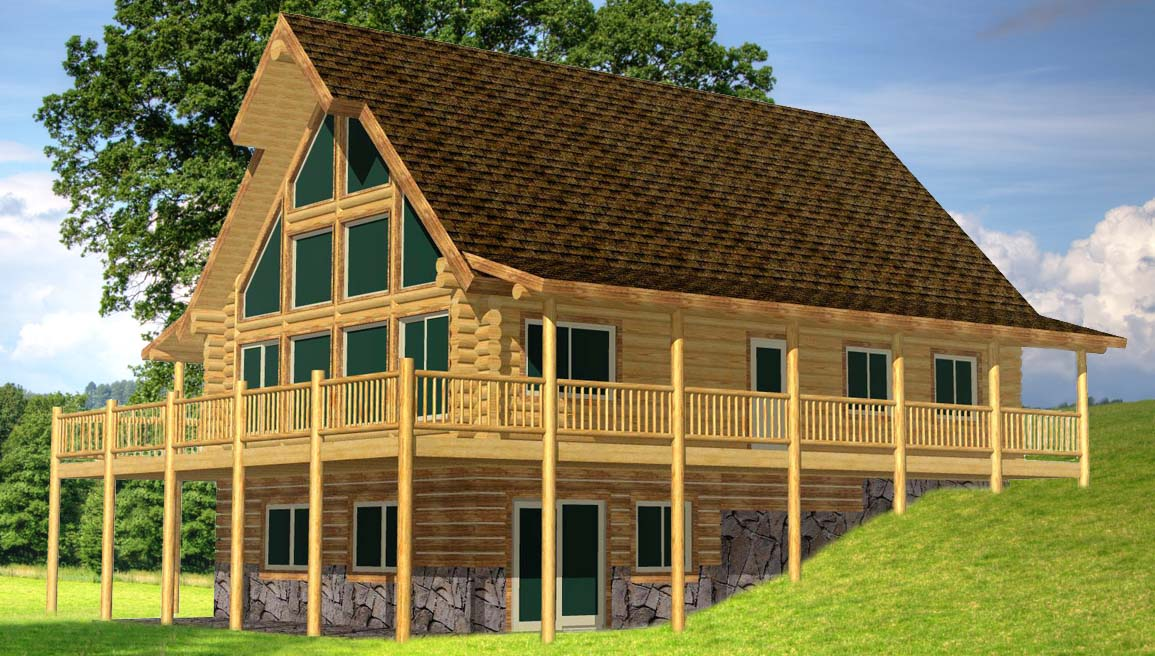 Alpine Glow Valley 3d with porch deck awesome log home design